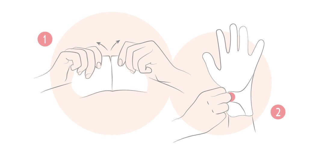 Répartissez le sérum à l'intérieur des gants, puis séparez-les et enfilez-les sur vos mains préalablement nettoyées et séchées. Rabattez la languette autour du poignet et collez-la à l'aide des étiquettes pour fermer le gant. Laissez poser pendant 30 minutes, puis faites pénétrer l'excédent avec de légers massages. Inutile de rincer. Ne pas réutiliser.