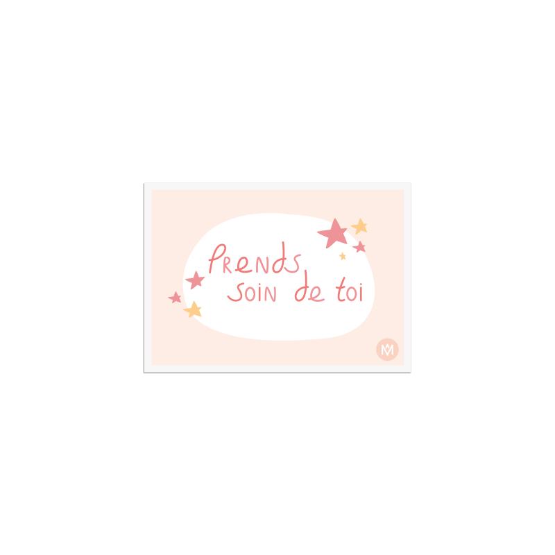 Dessin prends soin de toi sur une carte postale  - MÊME Cosmetics