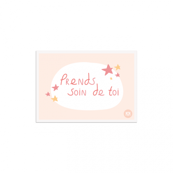 Drawing take care of yourself on a postcard - MÊME Cosmetics