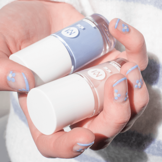 Long Lasting Nail Polish Blue and Nude - MÊME Cosmetics