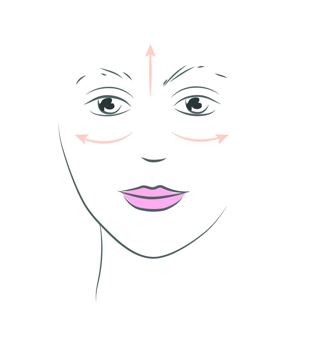 Produit teint étirè à partir du centre du visage