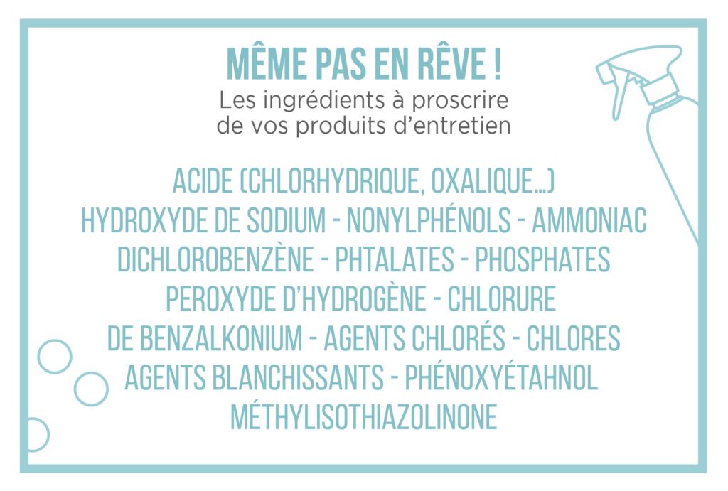 ingrédients dangereux pour la santé produits d'entretien