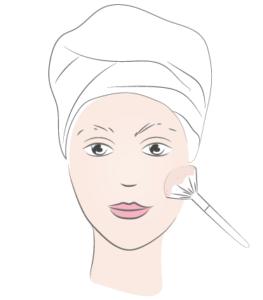 application poudre visage